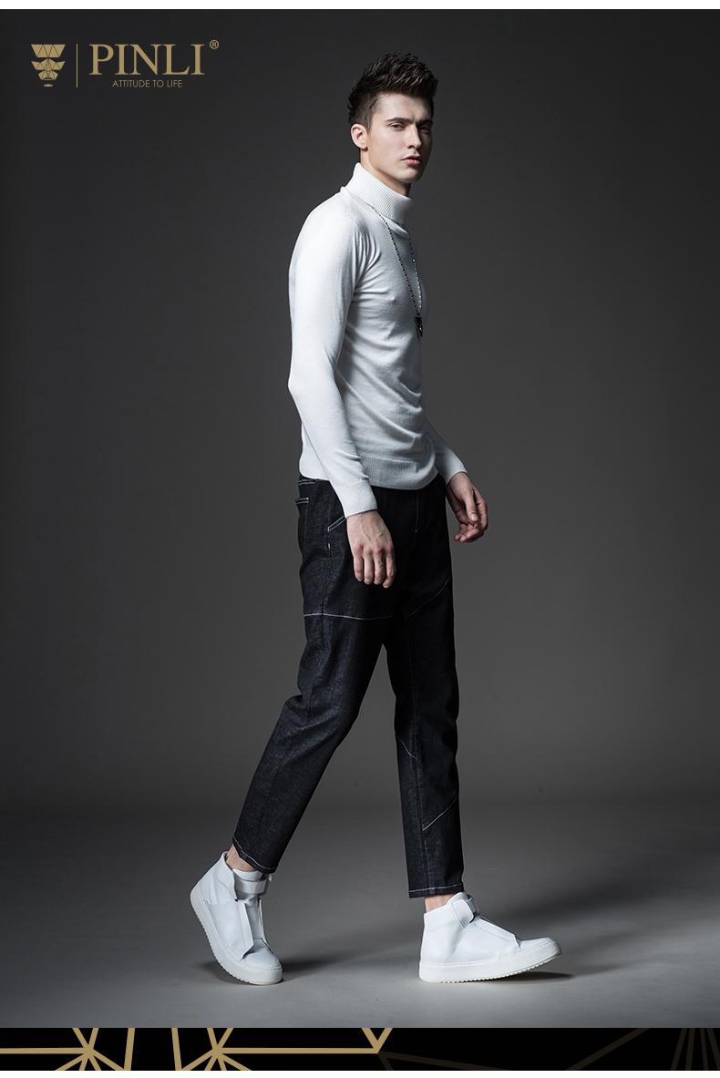 PINLI sản phẩm mùa xuân người đàn ông mới của màu rắn cao cổ áo mỏng đan áo len nam triều S173110146