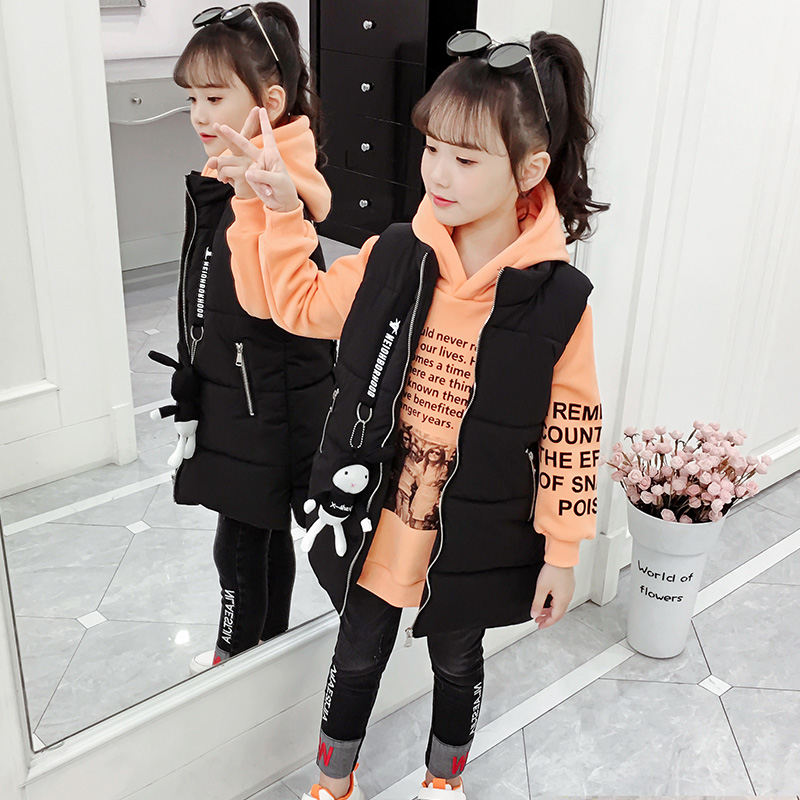 Girls net red suit 2019 new autumn and winter in the children's Korean version of the fashion hooded sweater children three-piece tide