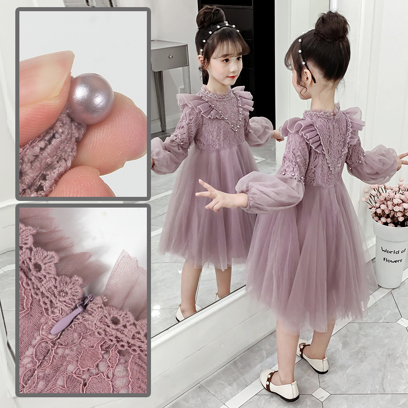 Girls dress 2019 autumn dress new children's dress Spring and Autumn girl super-foreign skirt little girl princess skirt.