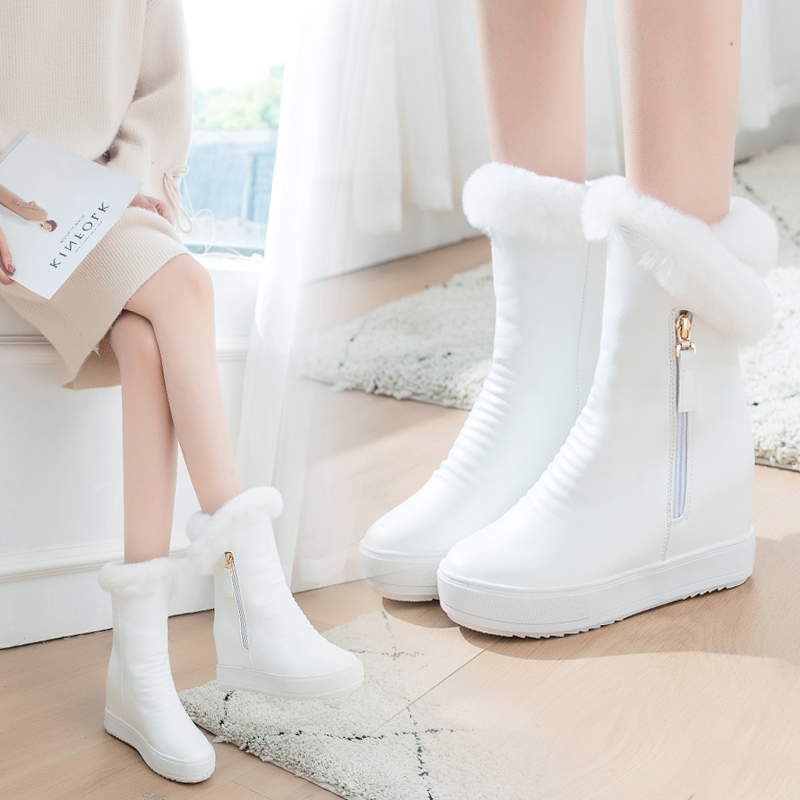 冬平底兔毛带毛毛加绒加厚白色雪地靴内增高女短靴子棉鞋棉靴女鞋