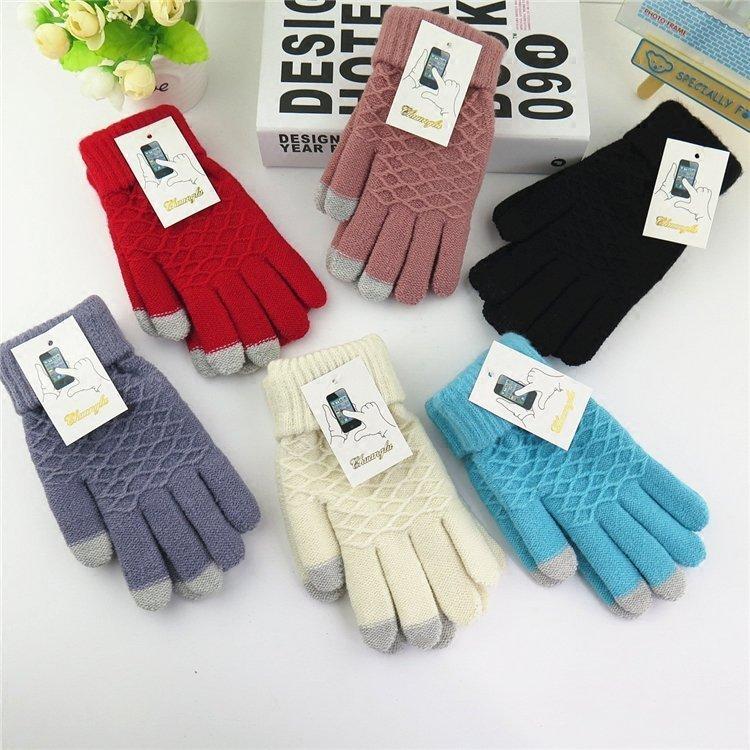 韩版秋冬季翻口仿羊绒女士保暖触屏手套 针织毛线加厚学生手套女
