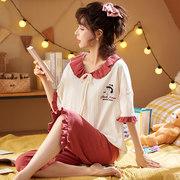 雪俐 女士夏季荷叶领卡通短袖短裤薄款睡衣套装