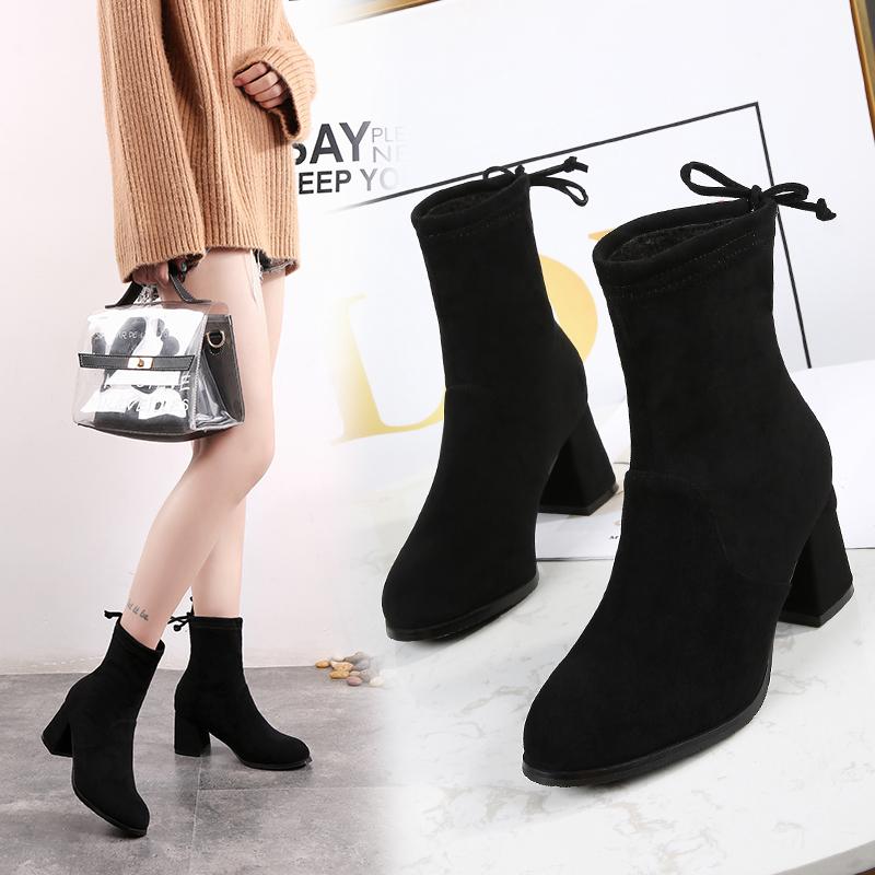 网红短靴秋冬季2018马丁靴女弹力靴粗跟中跟鞋真皮百搭高跟瘦瘦靴