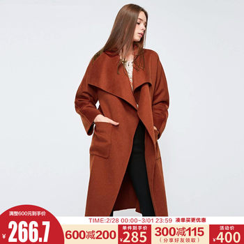 Chic Vero Moda spring new temperament lapel simple long woolen coat women 318327541