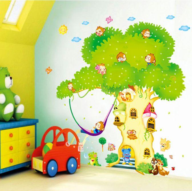 Наклейка на стену Детская комната фон декоративные наклейки стены гостиной спальня большое дерево мультфильм съемный дерево дома Бесплатная доставка