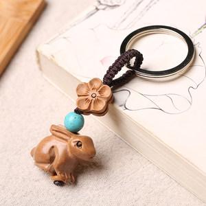 十二生肖属相桃木兔子手链吊坠钥匙扣挂件挂饰坠红绳实木雕刻项链