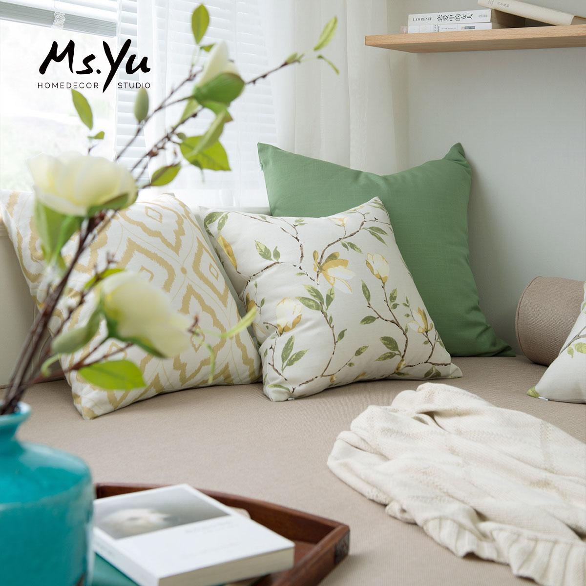 君子的后花园 工笔木兰系列抱枕套 可订制 #喻小姐设计室