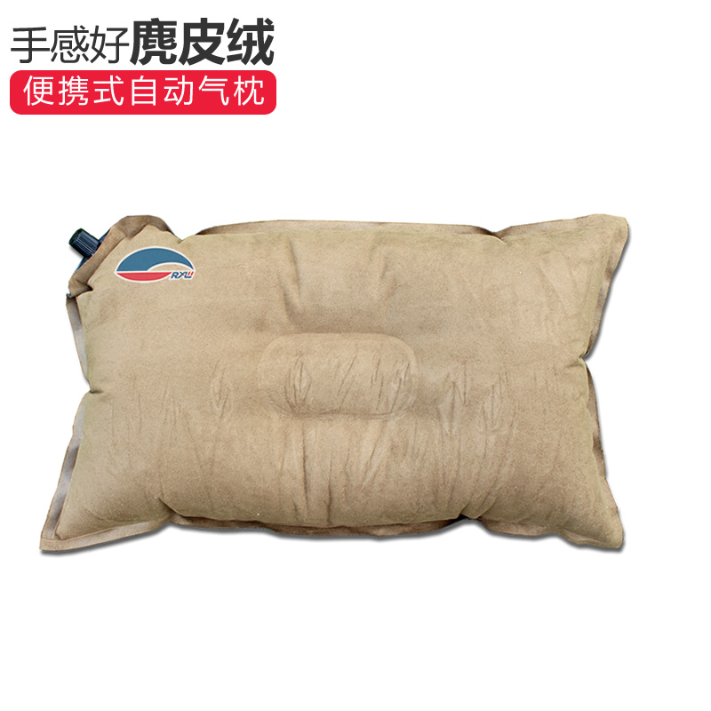 Suede automatic inflatable pillow outdoor lunch break sleeping pillow portable travel travel camping comfortable waist pillow