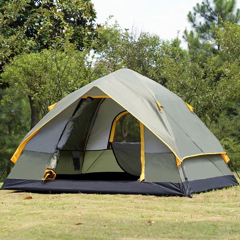 全自动帐篷户外 3-4人二室一厅双层防雨2人单人野营野外露营帐篷