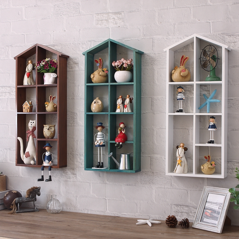 American Village Retro Store Storage Lattice Storage Box Display Cabinet  Can Hang Wall Decorations Creative Hanging