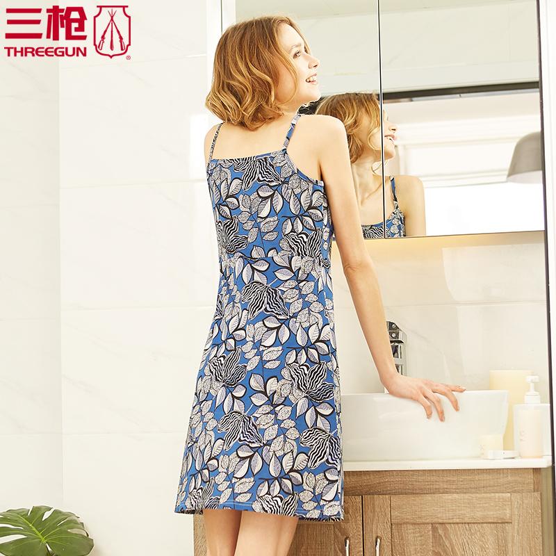 Ba bộ đồ ngủ nữ mùa hè treo váy ngủ nữ shufu cotton nhà in váy 2018 mới 70340 - Đêm đầm