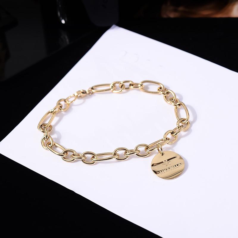 韩国时尚钛钢镀14K真金圆牌手链女气质网红款手环手饰流行首饰品