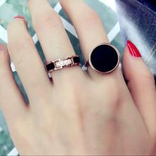 日韩时尚微镶钻戒指女钛钢镀玫瑰金指环