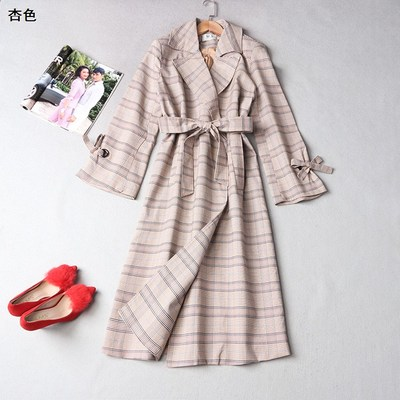 108982 Ming Wei Women's 2017 winter lapel non-buckle long-sleeved plaid trench coat