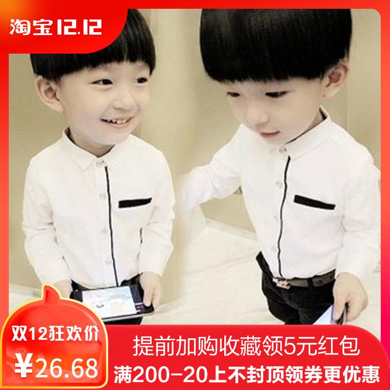童装新款2018秋冬韩版纯棉男童白色衬衫儿童打底加绒衬衣保暖上衣