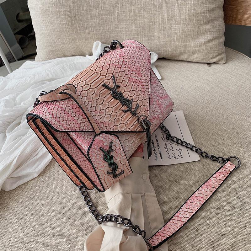 Ins европа и америка ретро классическая мешки сумки 2019 новый осень и зима змеиная кожа градиент дикий диагональ маленький квадрат пакет 600698872689