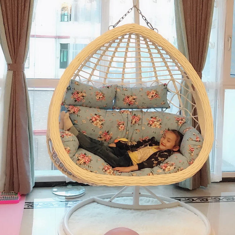 Net-pulling bird's nest hanging basket hanging chair indoor rattan chair European double hammock children's swing family adult living room rocking chair