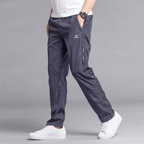 Spring and summer thin sports pants mens trousers polyester single layer breathable quick dry pants