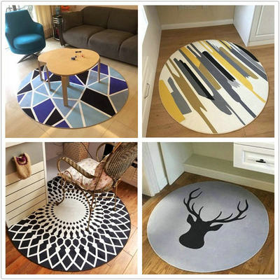 Simple nordic round carpet modern home living room coffee table bedroom bedside bed cute hanging basket computer chair cushion