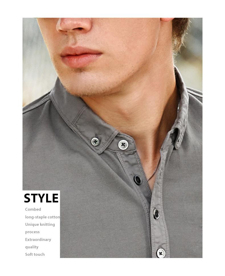Ông vải ngắn tay ánh sáng kinh doanh bình thường ve áo mùa hè màu rắn áo polo cotton AT2037 áo polo ralph lauren