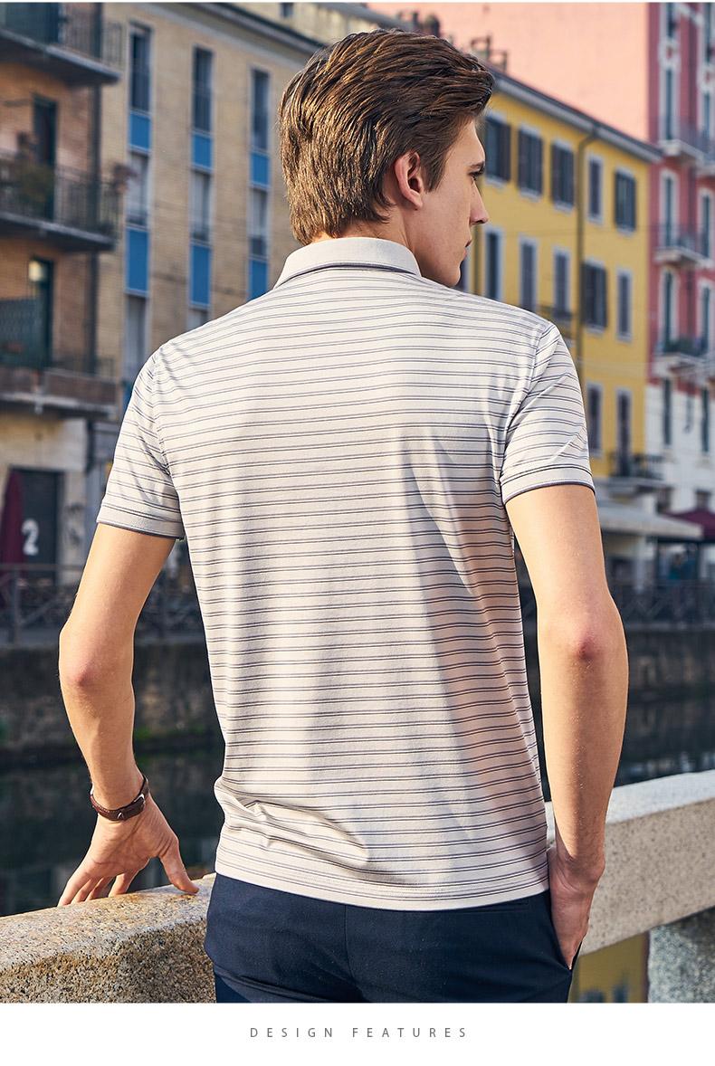 Ông vải ngắn tay áo T 2018 mùa hè mới cổ điển lụa sọc ve áo POLO áo sơ mi ngắn tay áo t nam áo phông polo