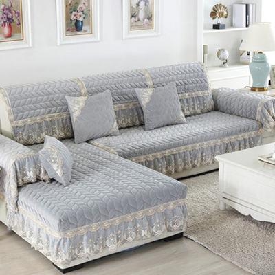 冬季毛绒加厚欧式裙边沙发垫70*70