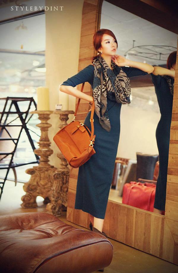 Korean women's new autumn and winter long-sleeved long knitted long skirt Slim base skirt NSYF1078