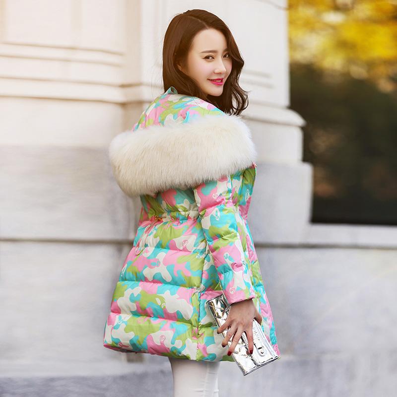 天天特价2017冬季新款韩版迷彩大毛领羽绒服女中长款加厚修身潮