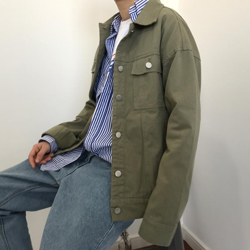 JIWU một số điều Hàn Quốc Dongdaemun ulzzang Harajuku phong cách ve áo lỏng phần mỏng denim jacket coat nam giới và phụ nữ
