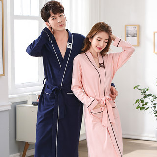 Couple's nightgown spring and autumn pure cotton long bathrobe, female men's yukata, autumn and winter long-sleeved thin Japanese style pajamas
