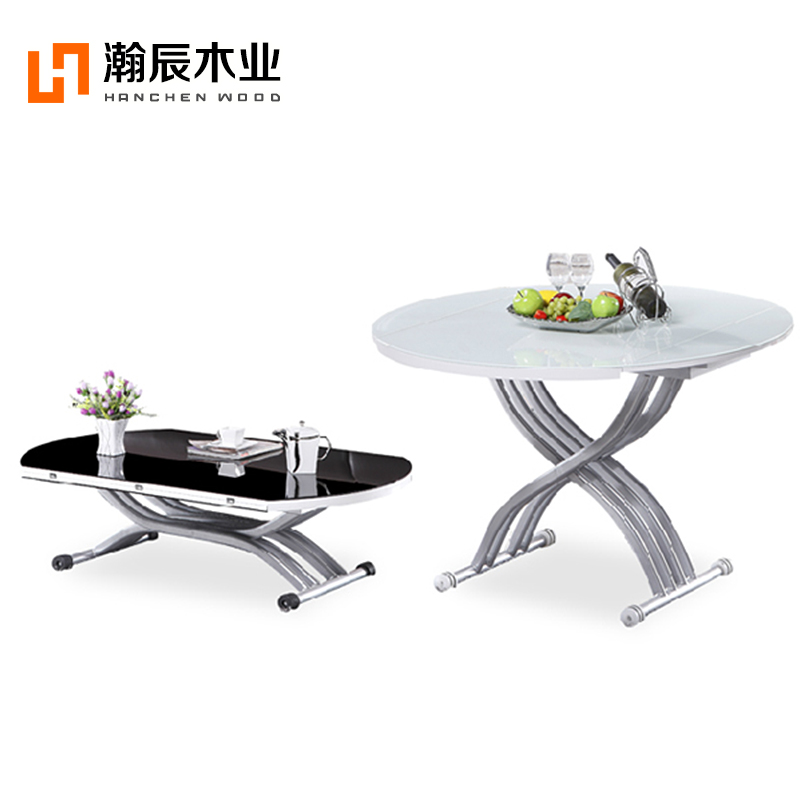 Hanchen Gl Round Table Manual Lifting Coffee Telescopic Dining Folding Small Apartment Multi