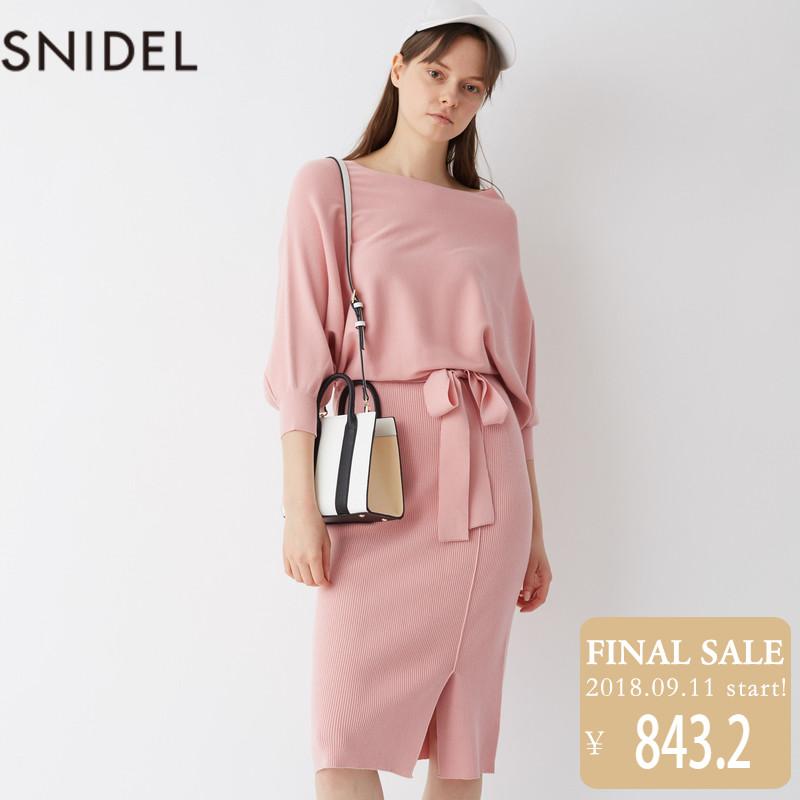 SNIDEL2018新品 簡約系帶長款連衣裙SWNO181070