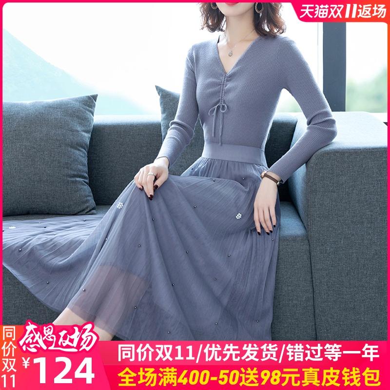 2019初秋冬贵夫人连衣裙女春款假两件套装裙子洋气质减龄高端时尚
