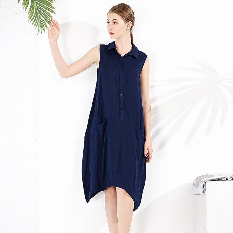 无袖中长款连衣裙夏季新款v女装宽松女装裙中年灯笼H92-F0057