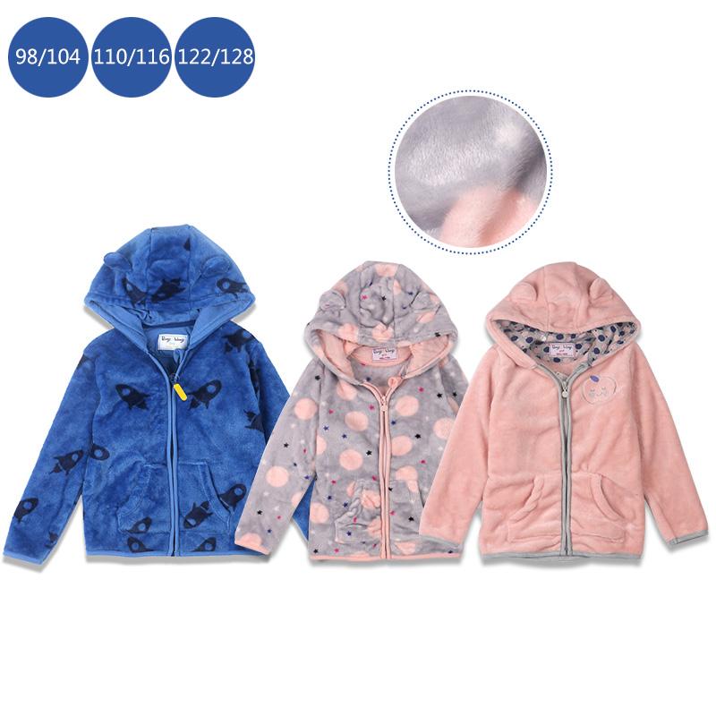 现货出口高品质童装秋冬男女童小耳朵造型珊瑚绒保暖外套上衣