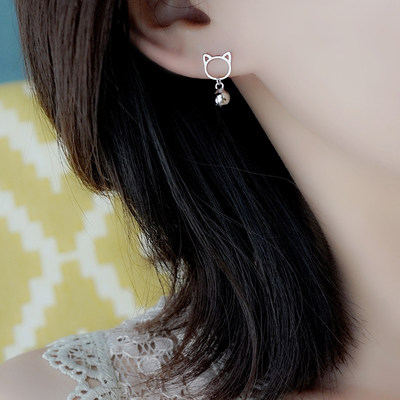 Small Z Prepared 925 Sterling Silver Cat Earrings Cute Bell Short Earrings Square Earrings Korea Simple Jewelry