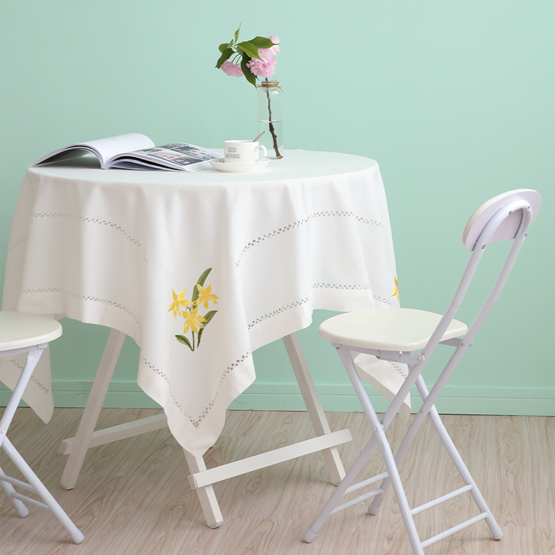 White Hand Embroidery Tablecloth Fabric Coffee Table Nordic Rectangular Square Cloth Modern Minimalist