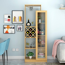 Simple modern restaurant living room against the wall wine cabinet storage glass door shelf