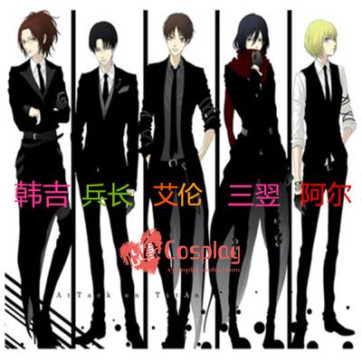 taobao agent Attacking Mafia/Attacking Giant Doujin/Tuxedo/Mikasa/cosplay clothes send gloves