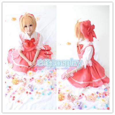 taobao agent Xinyuan cosplay card girl sakura cos Kinomoto sakura red and white sakura battle suit cosplay costume