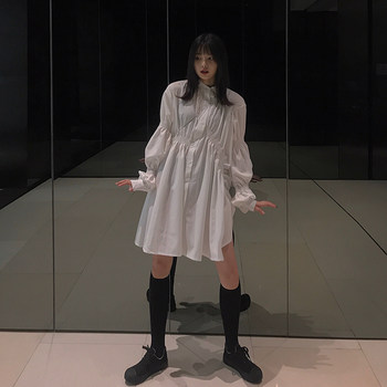 Peripheral circulation dress 2020 spring new female loose long-sleeved shirt contracted wind pleated short skirt irregular