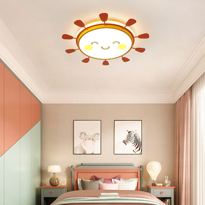 Children's room LED ceiling lamp sun smiley face sunshine boy and girl princess bedroom study nordic lamp modern minimalist