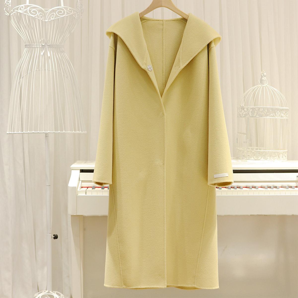 Hàn Quốc 19 new ins gà màu vàng phô mai màu trùm đầu dài hai mặt khâu áo khoác len - Áo Hàn Quốc