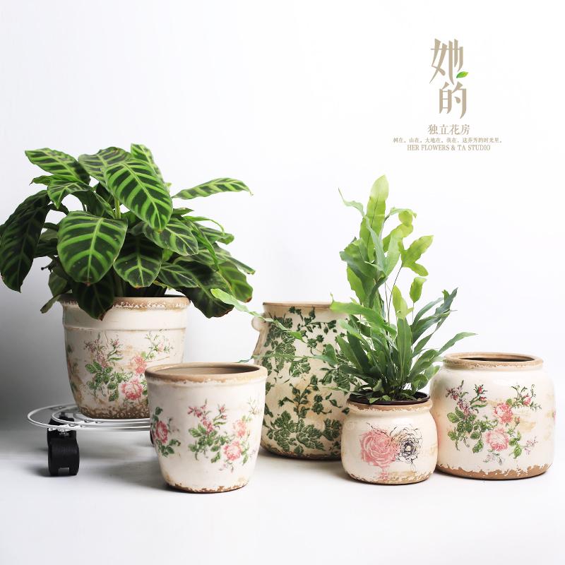她的花盆 花 陶瓷陶釉多肉绿植花盆栽盆花纹美式乡村家居园艺