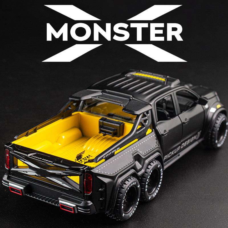 奔驰X级皮卡6X6合金车模1:28越野车皮卡儿童礼物玩具车仿真模型车