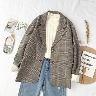 Весна 2019 новая девушка наряд корейский короткий пальто свободный сетка красивый небольшой костюм длинный рукав шерстяные пиджак куртка