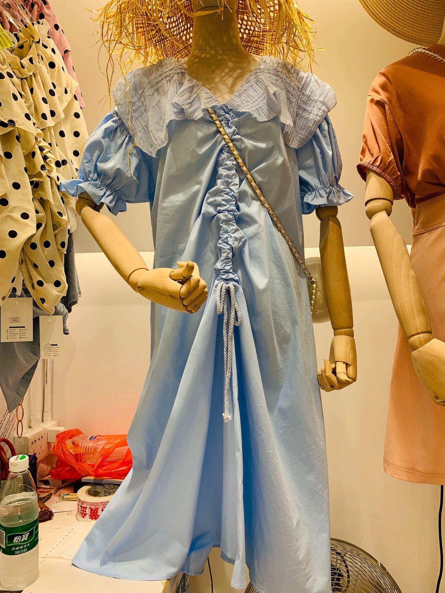 2019夏装新款韩版女装中长款宽松抽绳宽松显瘦蕾丝v领连衣裙