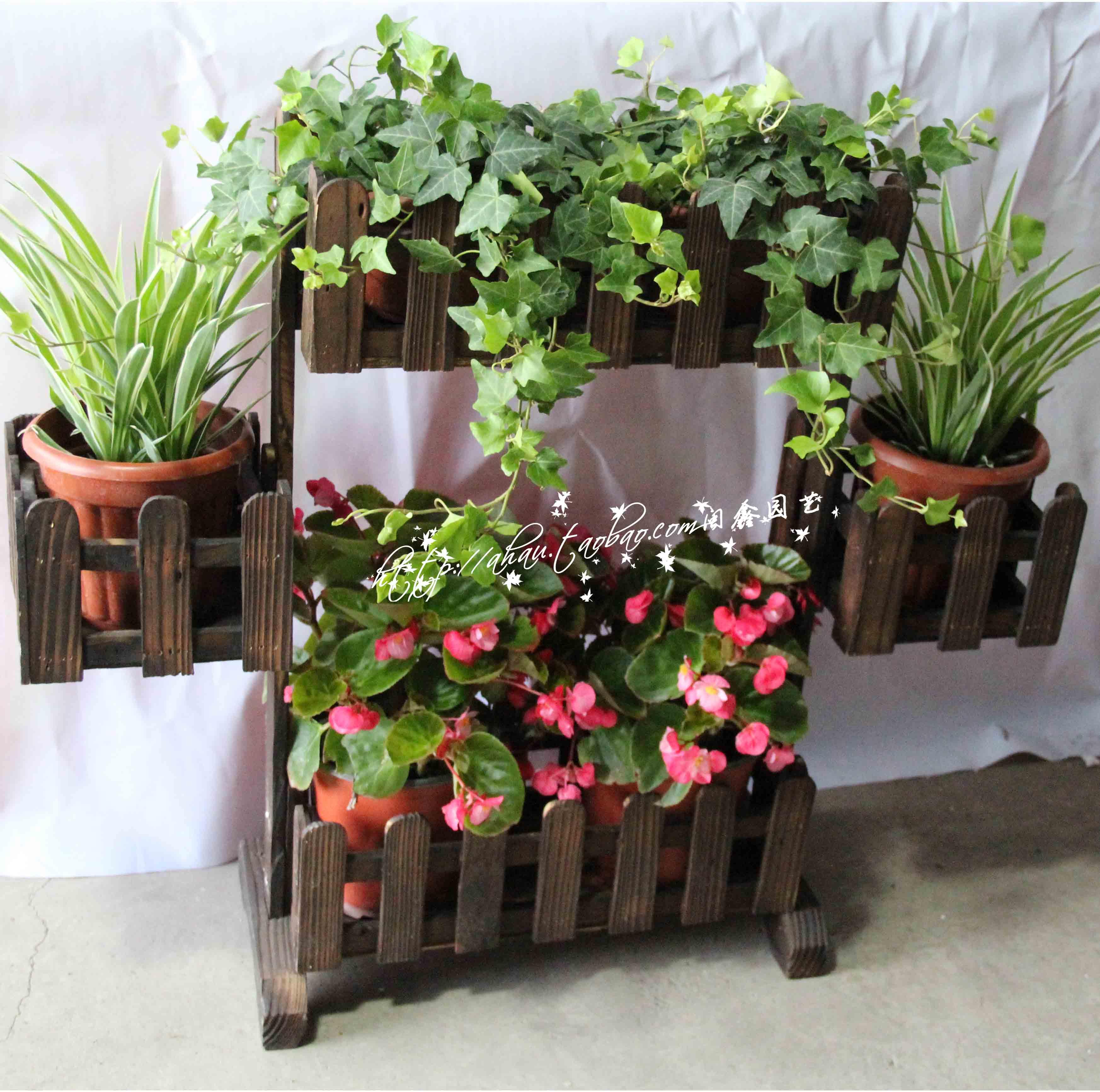 克赛罗蒂 法式花架 实木落地欧式置物架 多层简约白色放花盆架子