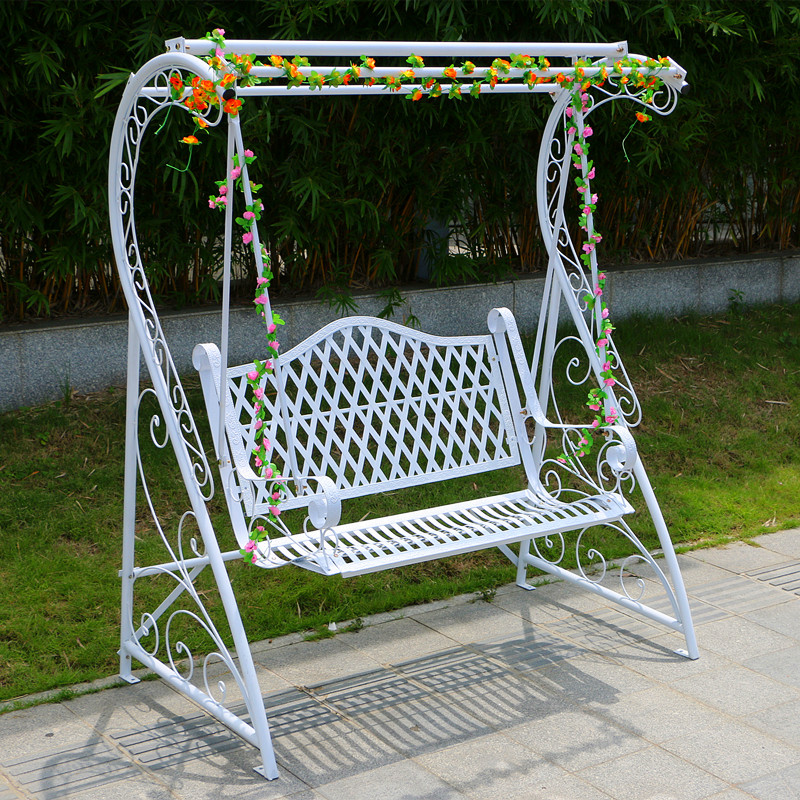 Outdoor Swing Indoor Adult Hanging Basket Wrought Iron Rocking Chair White  Outdoor Cradle Garden Balcony Double Swing Chair