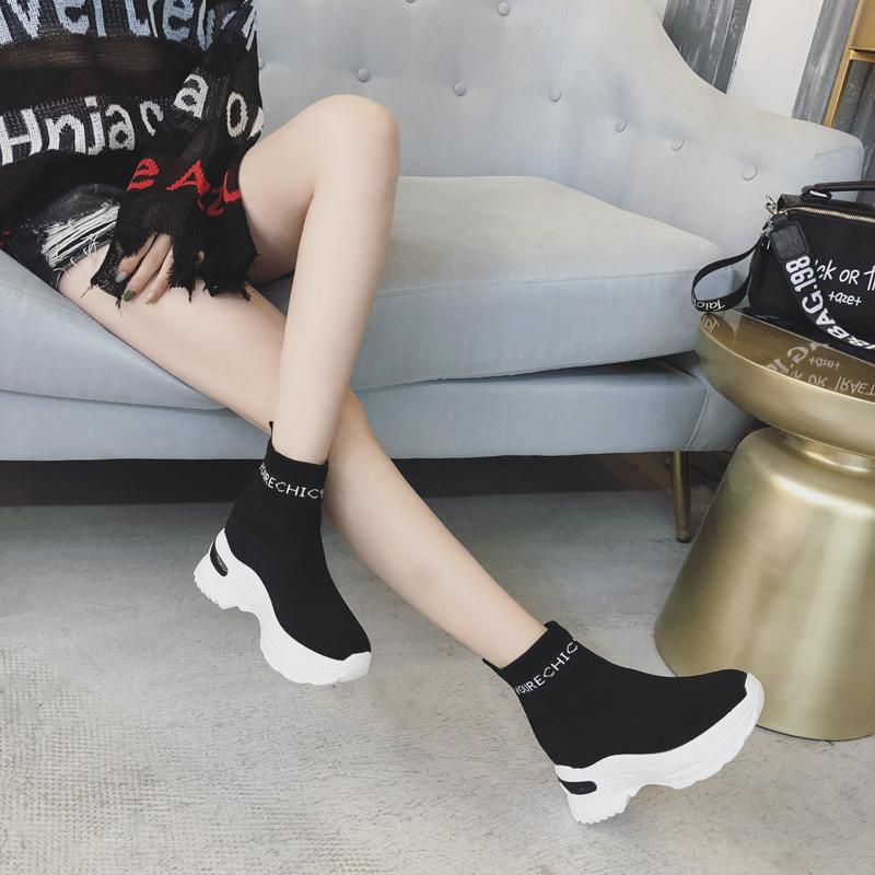 内增高高帮弹力鞋女2019春季厚底袜子跟套脚高跟针织松糕单鞋潮